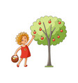 girl collecting apples from apple tree vector image