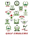 Golf sport icons and symbols set vector image
