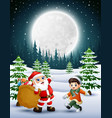 happy christmas with santa claus holding sacks of vector image vector image
