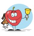 Happy School Apple Ringing A Bell vector image vector image