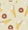 ice-cream cone and donut seamless pattern vector image vector image