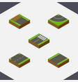 isometric way set of incomplete road footer and vector image vector image