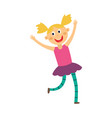 kid girl dancing and jumping isolated on white vector image vector image