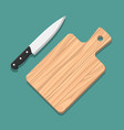 knife and cutting board vector image vector image