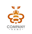 logo abstract bee flying with orange leaf wing vector image