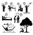 man thought of new idea stick figure pictogram vector image vector image