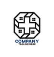 modern cross house logo vector image vector image