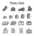 money currency cash coins bank notes icon set in vector image vector image