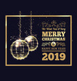 new year s christmas balls on luminous golden vector image vector image