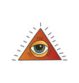 pyramid with seeing eye on white background vector image vector image
