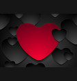 red and black hearts valentines day abstract vector image