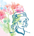Retro card with girl in hat and floral background vector image vector image