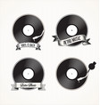 retro vinyl records badges vector image vector image