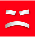 sad smile in paper style on red background vector image vector image