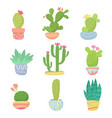 set flat cartoon cute desert or home pot cactus vector image