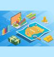 sudan isometric financial economy condition vector image vector image