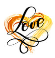text love calligraphy flourish on a background of vector image vector image