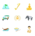 Thailand icons set cartoon style vector image