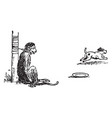 the monkey and the dog vintage vector image vector image