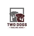 two animal head dog logo vector image