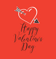 valentine card with heart pierced by an arrow vector image