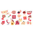 valentines elements cartoon objects for vector image vector image