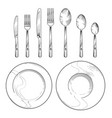 vintage knife fork spoon and dishes in sketch vector image vector image