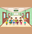 welcome back to school group children vector image