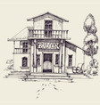 wild west saloon building hand drawing vector image vector image