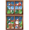 window scenes with santa and presents vector image vector image