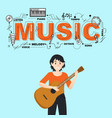 music icons with guitarist on sky blue background vector image