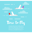 flat style of planes in the sky with word Time to vector image
