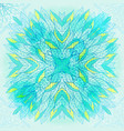hand drawn ethnic square blue ornament vector image