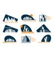 real estate logo set abstract creative building vector image