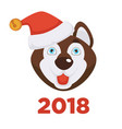 2018 new year poster with husky dog in christmas vector image vector image