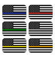 american thin line flag set vector image