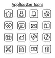 application icon set in thin line style vector image vector image