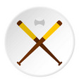 baseball bats and baseball icon circle vector image vector image