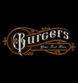 burgers lettering design vector image vector image