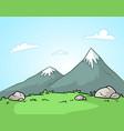cartoon mountains landscape background vector image