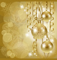 christmas background with baubles in gold vector image vector image