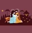 christmas nativity scene with holy family flat vector image