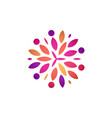colorful abstract flower round logo vector image