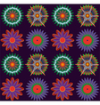 Colorful flowers on dark background pattern vector image vector image