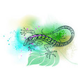 contour lizard on leaf vector image