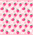 cute baby strawberry pink gingham pattern vector image