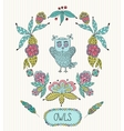 Cute cartoon owls in frame of leaves and vector image vector image
