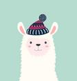 cute llama isolated winter card vector image vector image