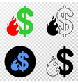 dollar fire eps icon with contour version vector image
