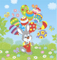 easter bunny with colorful balloons vector image